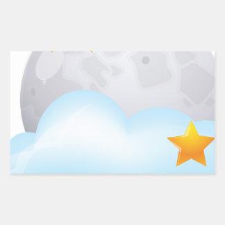 Luna y estrellas pegatina rectangular