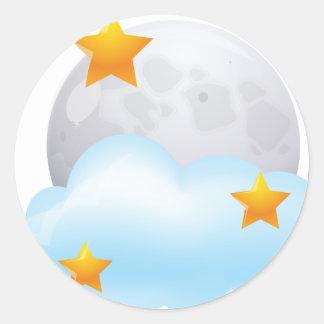 Luna y estrellas pegatina redonda