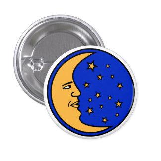 Luna y estrellas pin redondo de 1 pulgada
