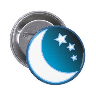 Luna y estrellas pin redondo de 2 pulgadas