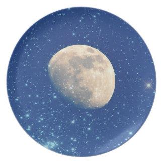 Luna y estrellas plato de comida