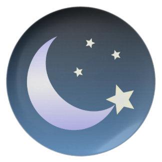 Luna y estrellas que cenan la placa plato de comida