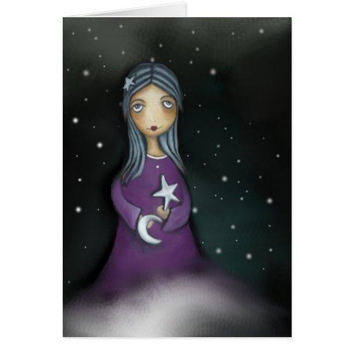 Luna y estrellas tarjeton