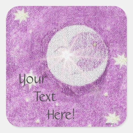 Luna y estrellas y cielo crepuscular púrpura pegatinas cuadradases personalizadas