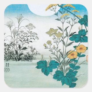 Luna y flores calcomanías cuadradases