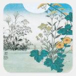 Luna y flores pegatina cuadrada