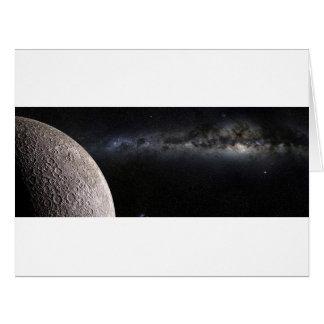 Luna y galaxia tarjeta de felicitación grande