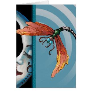 Luna y libélula tarjeta pequeña