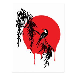 Luna y pájaro de la sangre tarjeta postal
