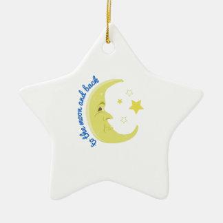 Luna y parte posterior adorno de cerámica en forma de estrella