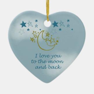 Luna y parte posterior adorno de cerámica en forma de corazón