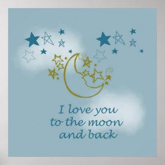 Luna y parte posterior póster