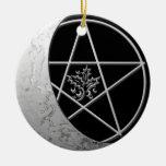 Luna y pentáculo crecientes de plata #7 adorno navideño redondo de cerámica