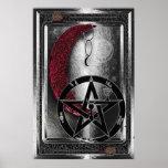 Luna y pentáculo de plata de Wiccan Cresent Posters
