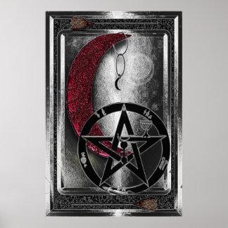 Luna y pentáculo de plata de Wiccan Cresent Póster