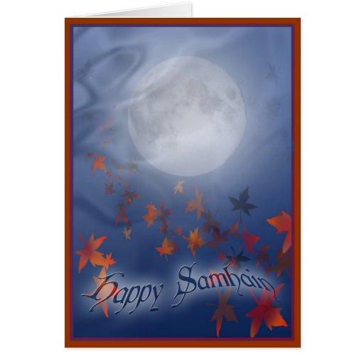 Luna y velo felices de Samhain Tarjeta De Felicitación