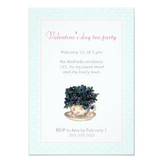 Lunar azul del rosa de la fiesta del té del día de invitación 12,7 x 17,8 cm