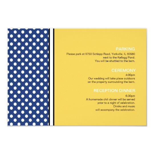 """Lunar azul y tarjeta amarilla del recinto del boda invitación 3.5"""" x 5"""""""