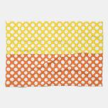 Lunar blanco, amarillo y anaranjado toalla de mano