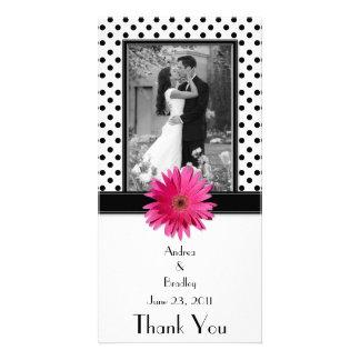 Lunar blanco del negro rosado de la margarita que tarjeta con foto personalizada