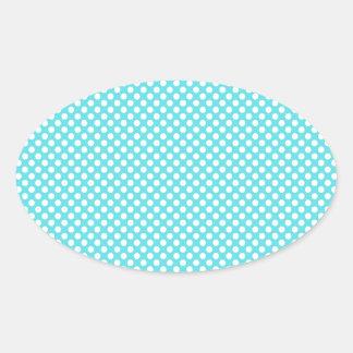 Lunar blanco en azul pegatina ovalada