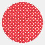 Lunar blanco en fondo rojo etiquetas redondas