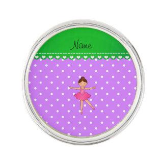 Lunar blanco púrpura personalizado de la bailarina insignia