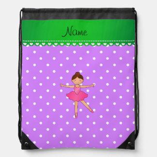 Lunar blanco púrpura personalizado de la bailarina mochila