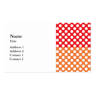 Lunar blanco, rojo y anaranjado tarjetas de visita