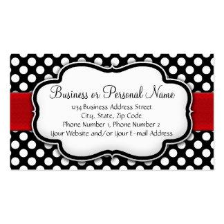 Lunar blanco y negro con la cinta roja tarjetas de visita
