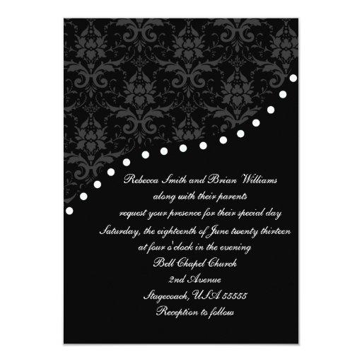 Lunar blanco y negro elegante del damasco invitación 11,4 x 15,8 cm