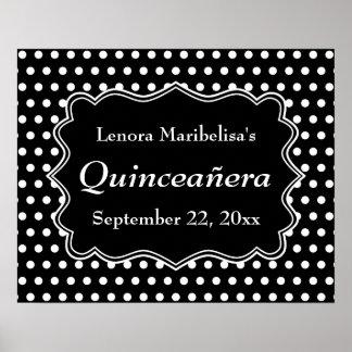 Lunar blanco y negro Quinceanera Posters