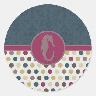 Lunar Card.jpg del Seahorse Pegatina Redonda