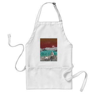 Lunar Colony Astronaut With Dog Adult Apron