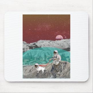 Lunar Colony Astronaut With Dog Mousepad