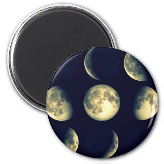 Lunar Cycles ~ The Moon 2 Inch Round Magnet