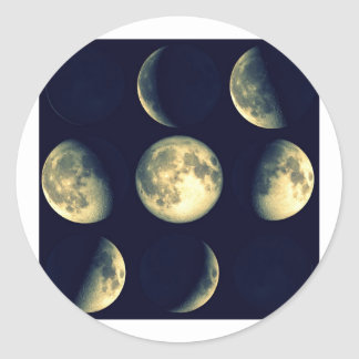 Lunar Cycles ~ The Moon Classic Round Sticker