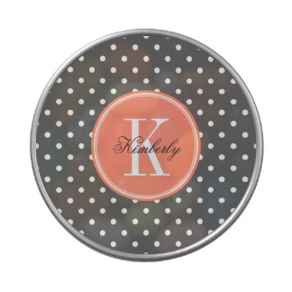 Lunar del gris de carbón de leña con el monograma jarrones de dulces