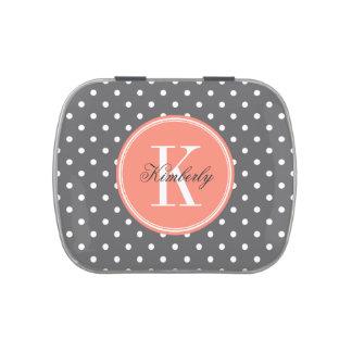 Lunar del gris de carbón de leña con el monograma latas de caramelos