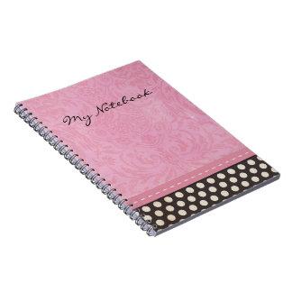 Lunar del libro de recuerdos y damasco rosado con  libreta espiral