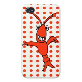 Lunar del rojo de los cangrejos de Cajun iPhone 4 Funda