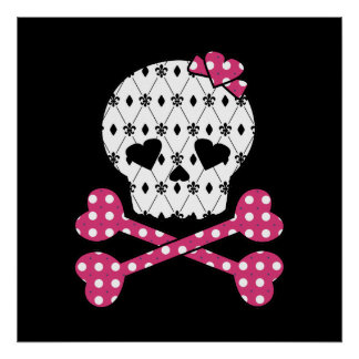 Lunar del rosa del cráneo y de la flor de lis de l póster