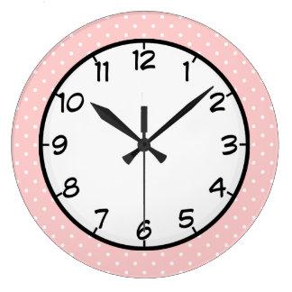 Lunar del rosa en colores pastel reloj redondo grande