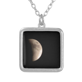 Lunar Eclipse with Craters Silver Plated Necklace