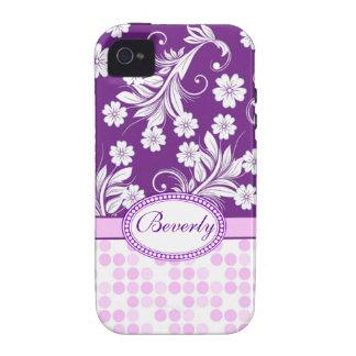 Lunar floral blanco púrpura con monograma vibe iPhone 4 funda