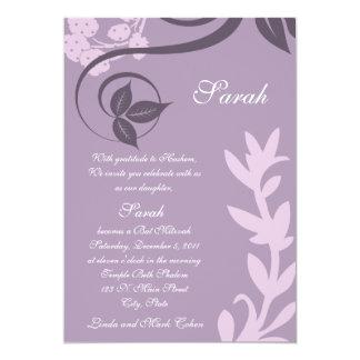 "lunar floral púrpura invitación 5"" x 7"""