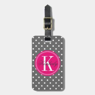 Lunar gris con el monograma rosado etiqueta para maleta