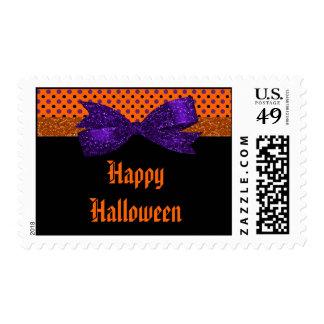 Lunar Halloween negro púrpura anaranjado Estampilla