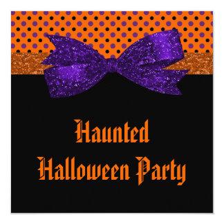 "Lunar Halloween negro púrpura anaranjado Invitación 5.25"" X 5.25"""