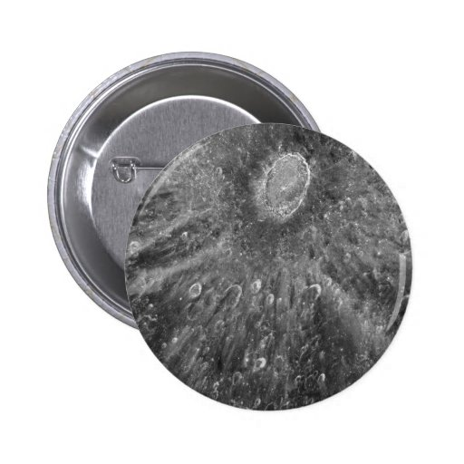 Lunar Impact Crater Tycho on Earth's Moon Pinback Buttons